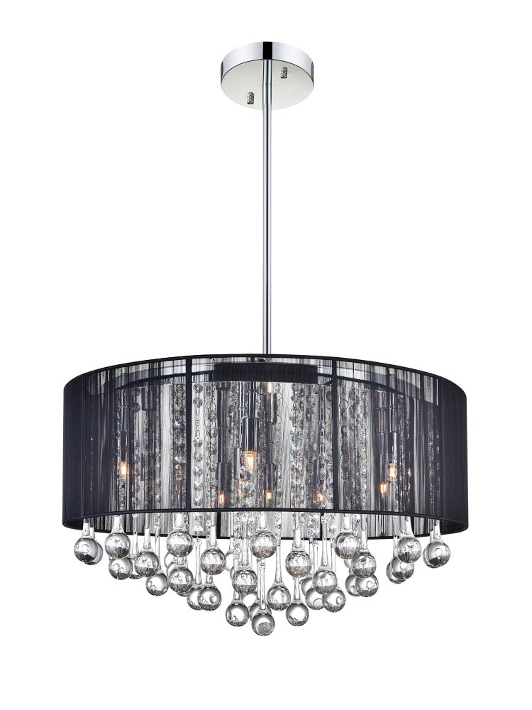 CWI Lighting 22 Inch Round Pendant With A Black Shade