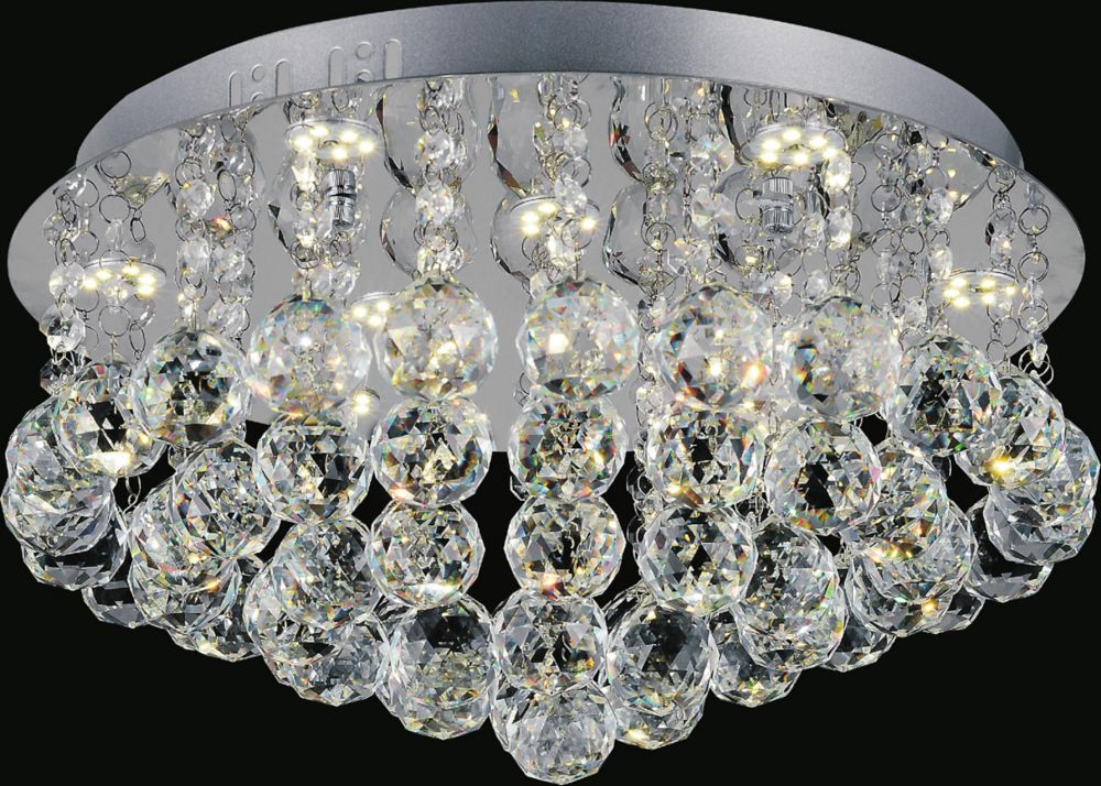 16 Inch Round Flush Mount With Suspended Crystals