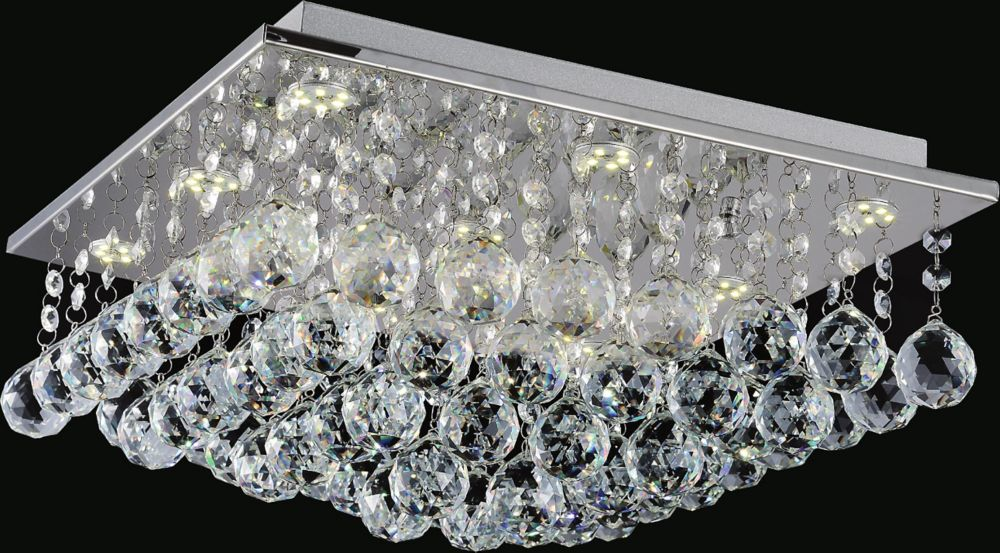16 Inch Square Flush Mount With Suspended Crystals