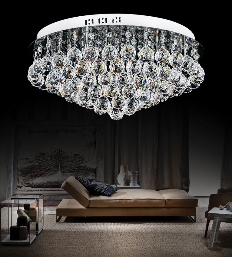 20 Inch Round Flush Mount With Suspended Crystals