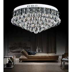 CWI Lighting 20 Inch Round Flush Mount With Suspended Crystals