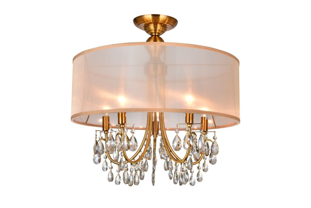 CWI Lighting 22 Inch Round Antique Brass Fixture With Gold Shade