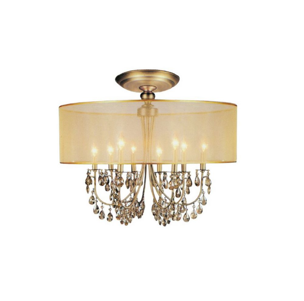 28 Inch Round Antique Brass Fixture With Gold Shade