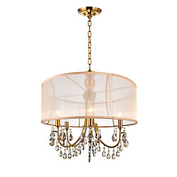 22 Inch Pendant Antique Brass Fixture With Gold Shade