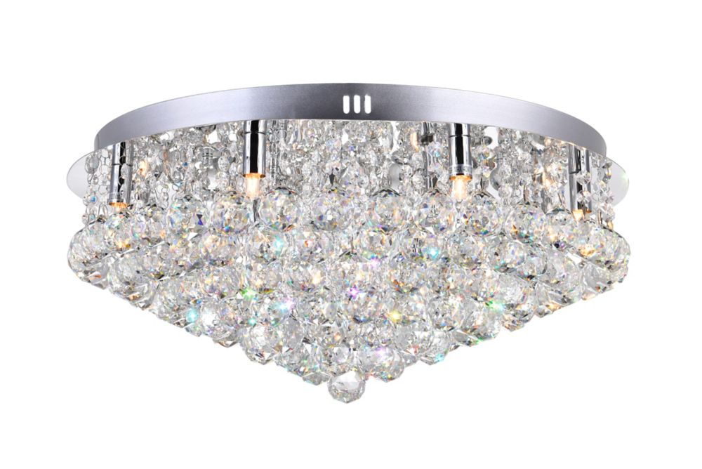 CWI Lighting 24 Inch Round Flush Mount With Suspended Crystals