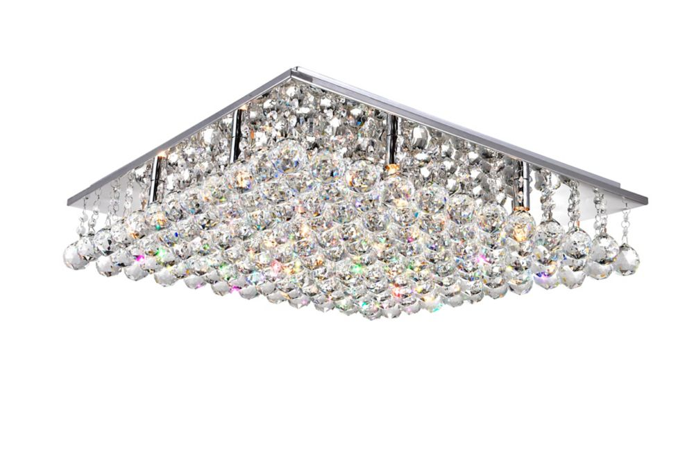 24 Inch Square Flush Mount With Suspended Crystals 5052C24C-S Canada Discount