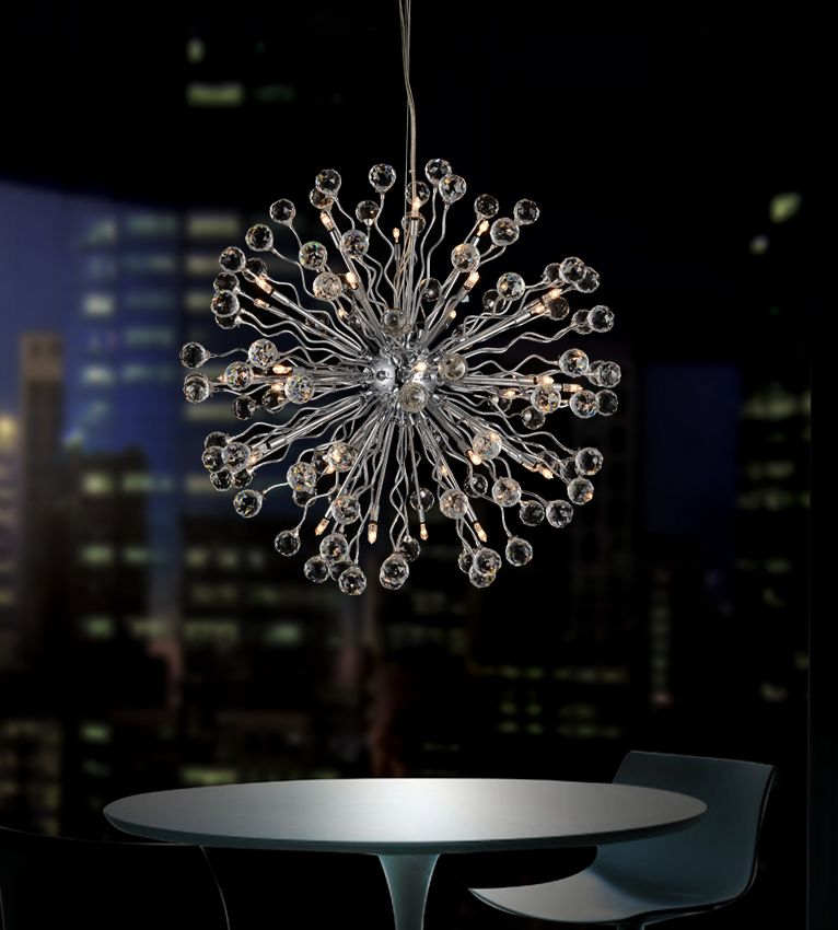 22 Inch Pendant Fixture With Extended Chrome Arms And Round Crystal Tops