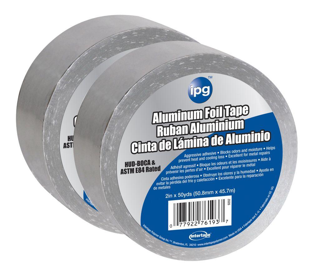 "Intertape Polymer Group CVC usage général 1.5 MIL Aluminium Foil Tape 2"" x 50 Yards - Pack 2"