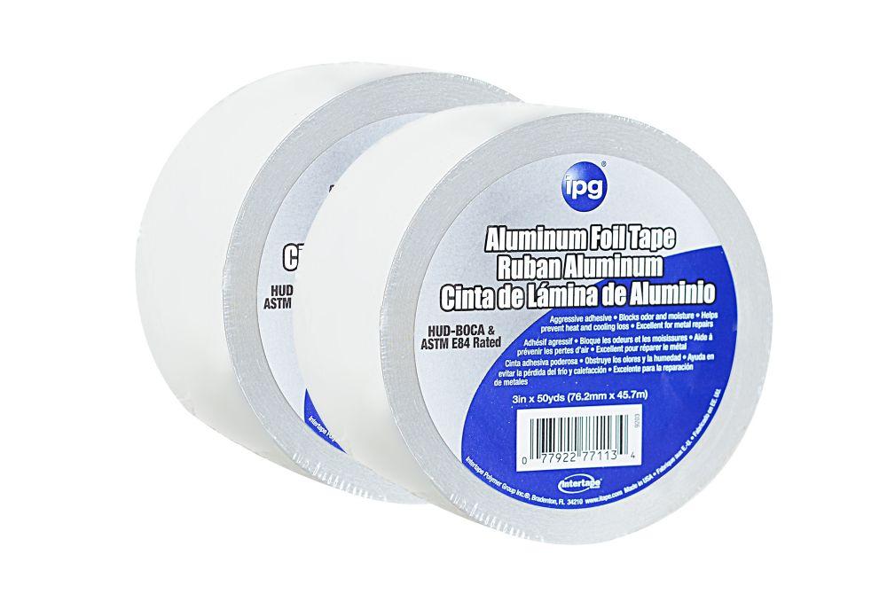ipg Intertape Polymer Group HVAC General Purpose 1.5 MIL Aluminum Foil Tape 3-inch x 50 Yards - 2 Pack