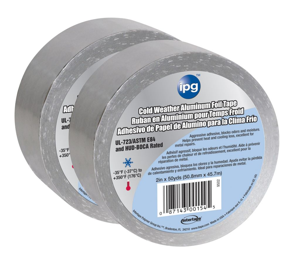 Intertape Polymer Group HVAC Cold Weather 1.75 MIL Aluminum Foil Tape 2-inch x 50 Yards - 2 Pack
