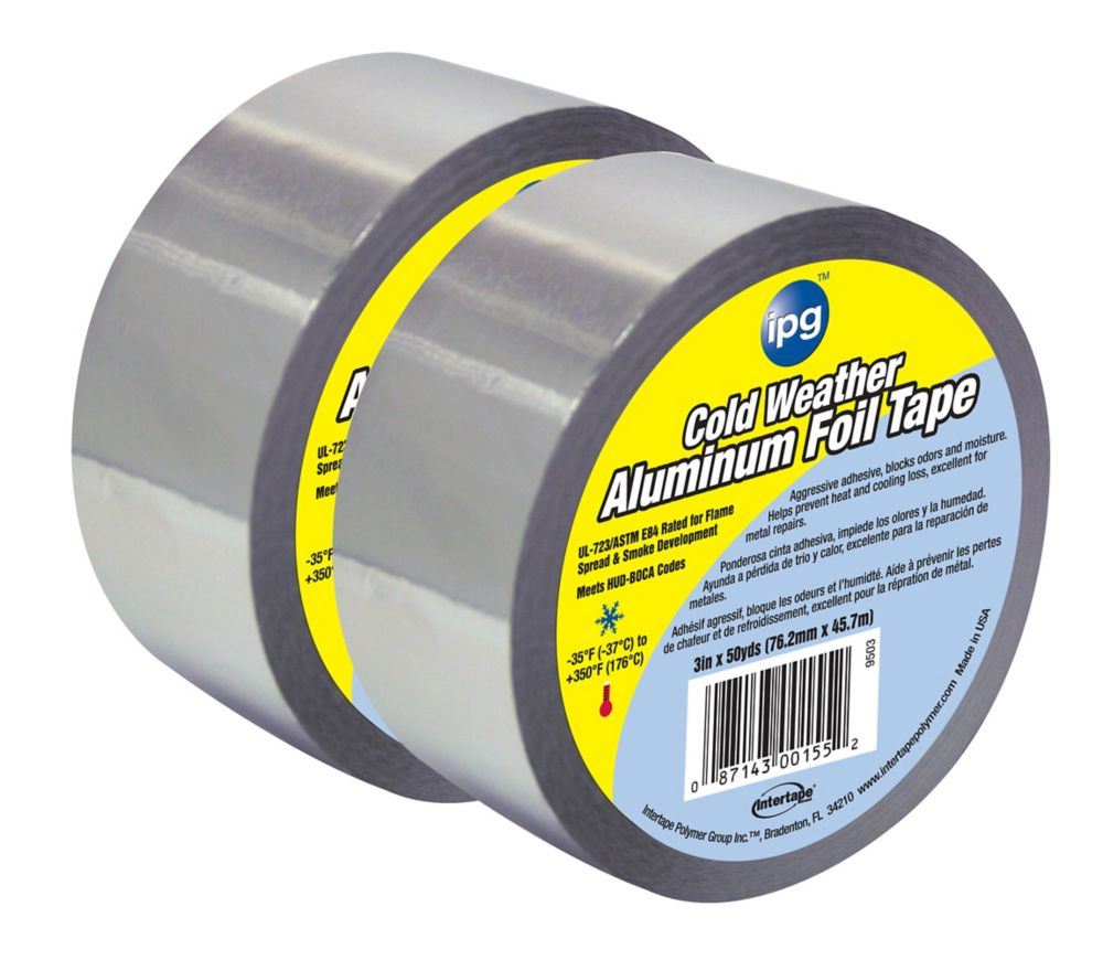 """Intertape Polymer Group HVAC Cold Weather 1.75 MIL Aluminum Foil Tape 3"""" x 50 Yards - 2 Pack"""