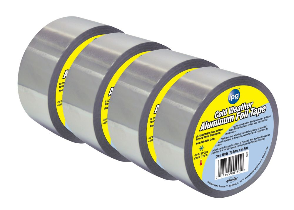 "Intertape Polymer Group HVAC Cold Weather 1.75 MIL Aluminum Foil Tape 3"" x 50 Yards - 4 Pack"