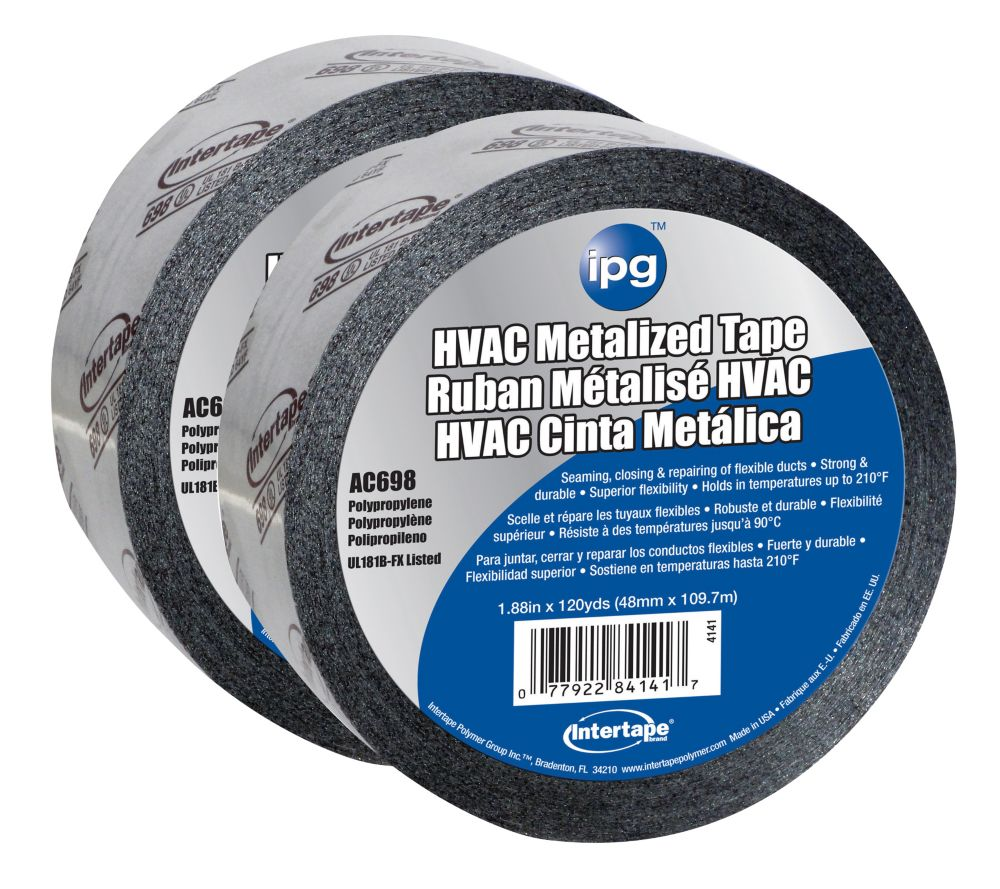 """Intertape Polymer Group HVAC Acrylic Duct Tape 1.88"""" x 120 Yards - 2 Pack"""
