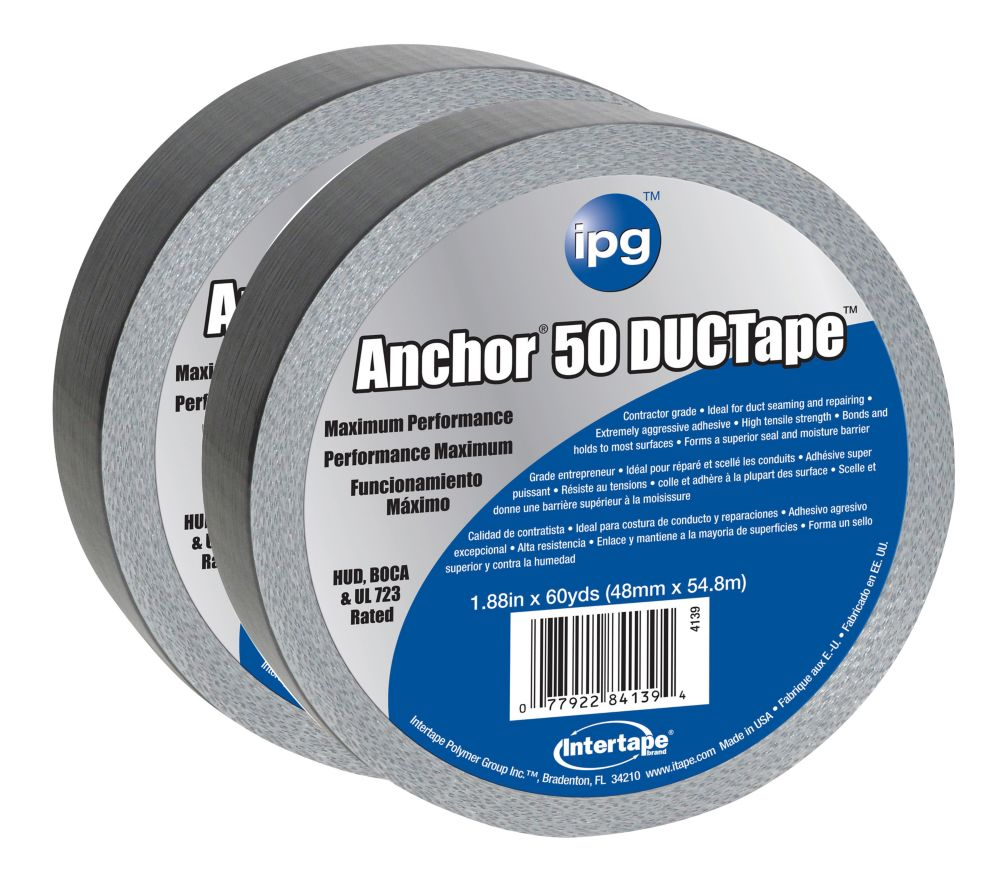 "Intertape Polymer Group CVC premium 14 MIL Duct Tape 1.88"" x 60 Yards - Pack 2"