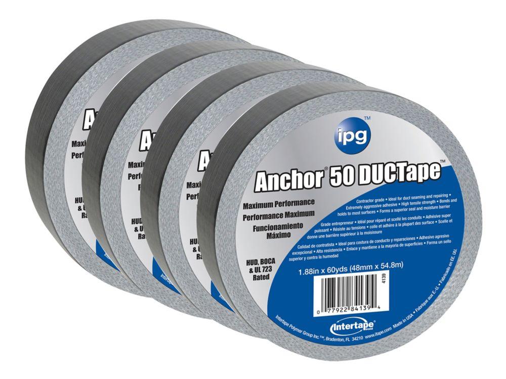 "Intertape Polymer Group CVC premium 14 MIL Duct Tape 1.88"" x 60 Yards - Pack 4"