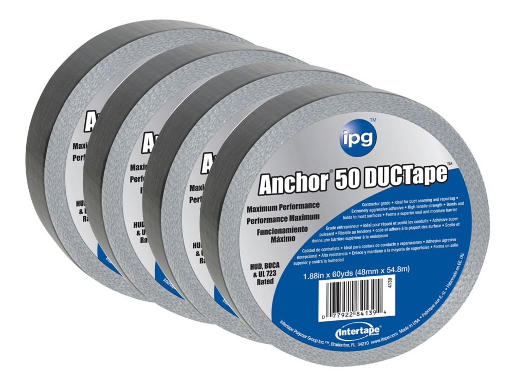 ipg Intertape Polymer Group HVAC Premium 14 MIL Duct Tape 1.88 inch  x 60 Yards - 4 Pack