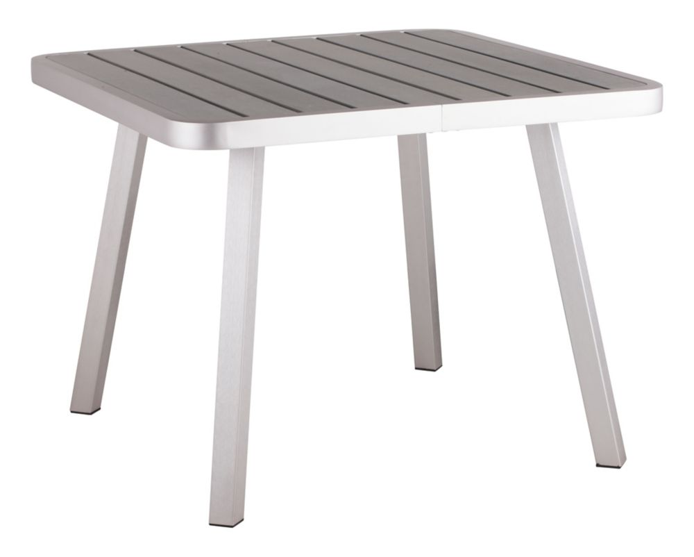 Township Square Dining Table Brushed Aluminum