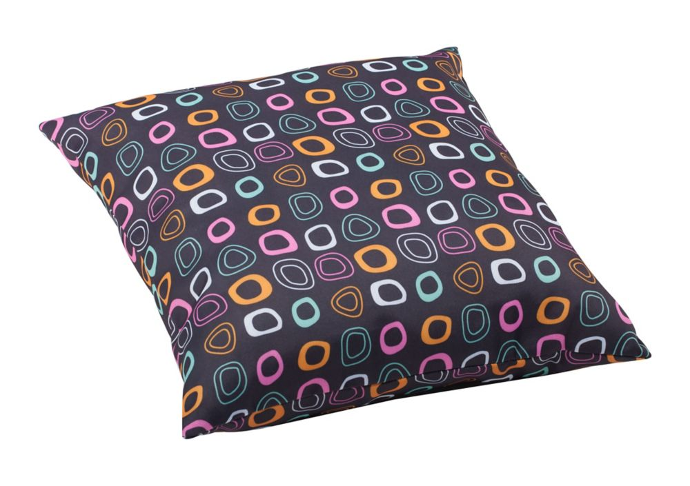 Kitten Large Pillow Chocolate base and mutlicolor pattern
