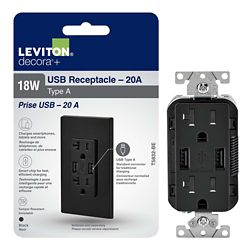 Decora Duplex USB Charger 3.6A / Tamper Resistant Receptacle 20A, Black