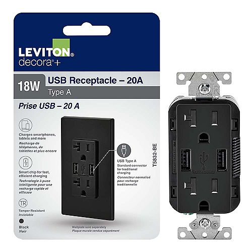 Leviton Decora Duplex USB Charger 3.6A / Tamper Resistant Receptacle 20A, Black