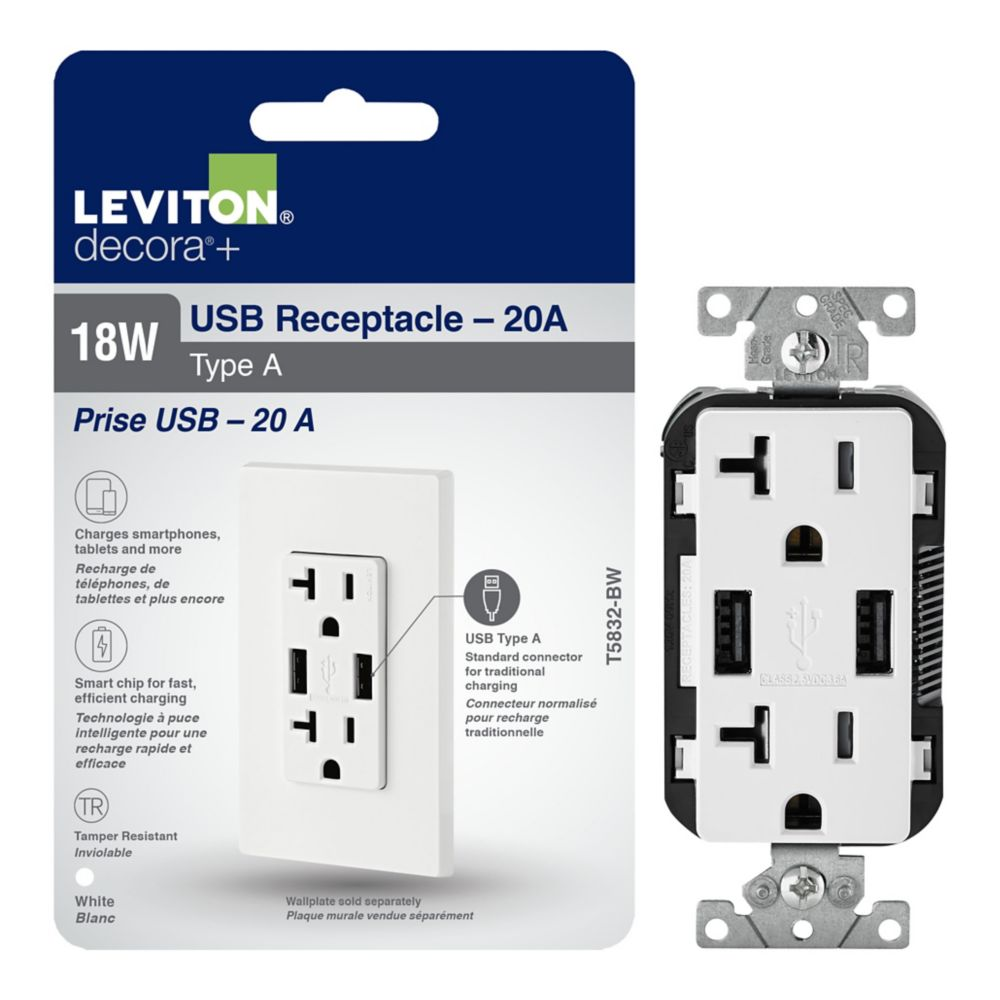 Combination Duplex Receptacle And USB Charger. 20 Amp. White.