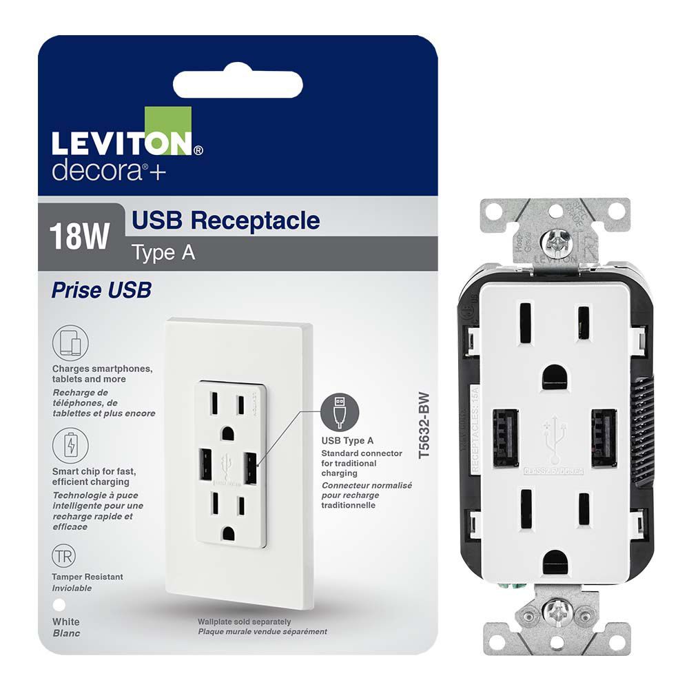 Combination Duplex Receptacle And USB Charger. 15 Amp. White.