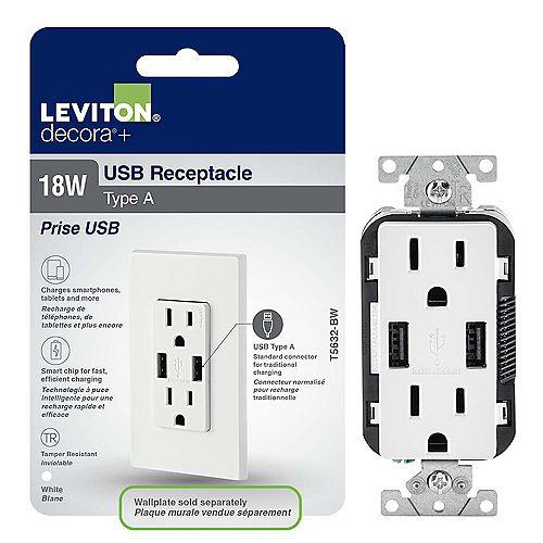 Leviton Decora Chargeur à USB 3.6A et Prise inviolable 15A doubles