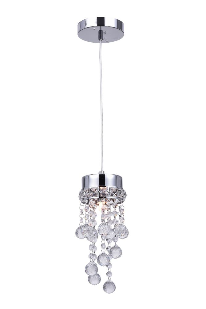 Single Round Pendant With Leveled Dangling Crystals On A Round Canopy
