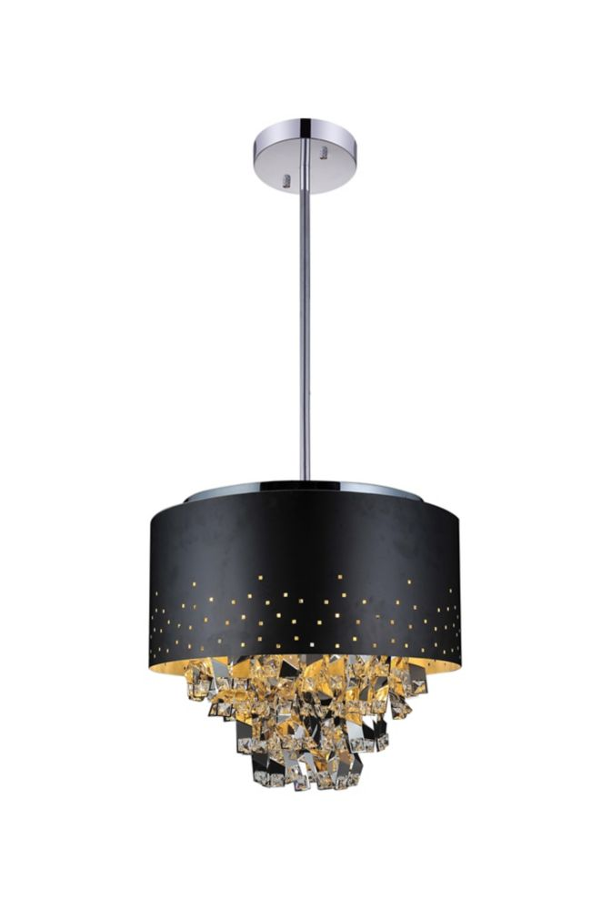 16 Inch Round Pendant Fixture With A Black Shade And Jagged Drop Center