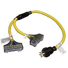 Universal 3 ft. 10/4, 240V Generator Twist-Lock Adapter