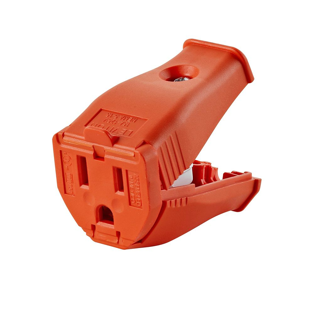 2-Pole, 3 Wire Grounding Outlet. Clamptite Hinged Design 15a-125v, nema 5-15p, Orange Thermoplast...