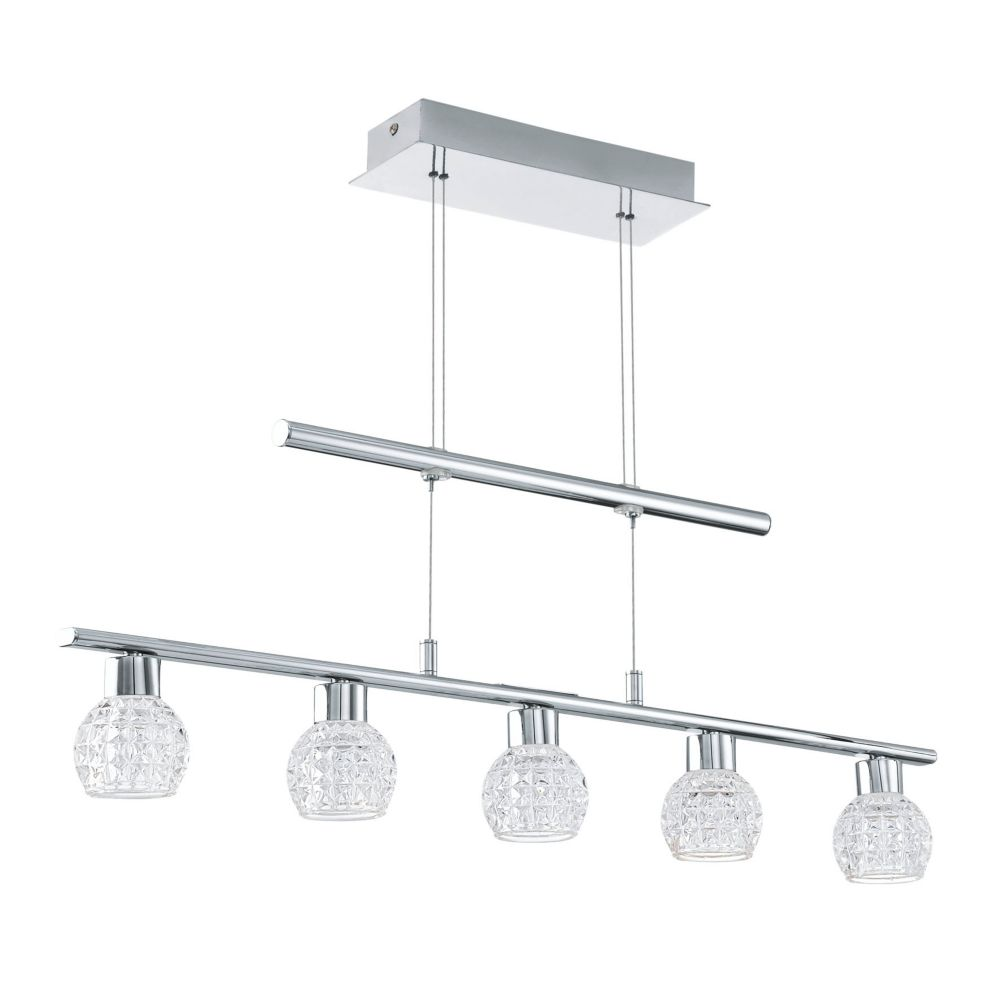 Eglo Hania 1 5L Linear LED Pendant, Chrome Finish With Clear Crystal Effect Glass
