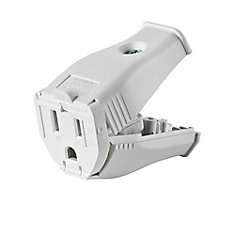 2-Pole, 3 Wire Grounding Outlet. Clamptite Hinged Design 15a-125v, nema 5-15p, White Thermoplastic.
