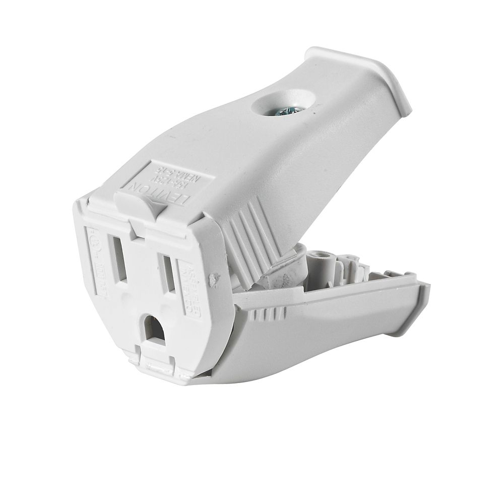 2-Pole, 3 Wire Grounding Outlet. Clamptite Hinged Design 15a-125v, nema 5-15p, White Thermoplasti...