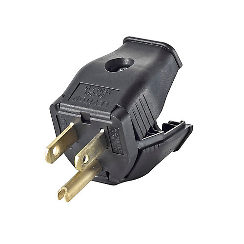 2-Pole, 3 Wire Grounding Plug. Clamptite Hinged Design 15a-125v, nema 5-15p, Black Thermoplastic.
