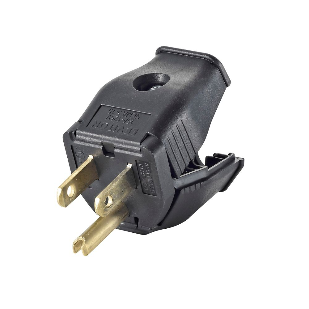 Leviton 2-Pole, 3 Wire Grounding Plug. Clamptite Hinged Design 15a-125v, nema 5-15p, Black Thermoplastic.