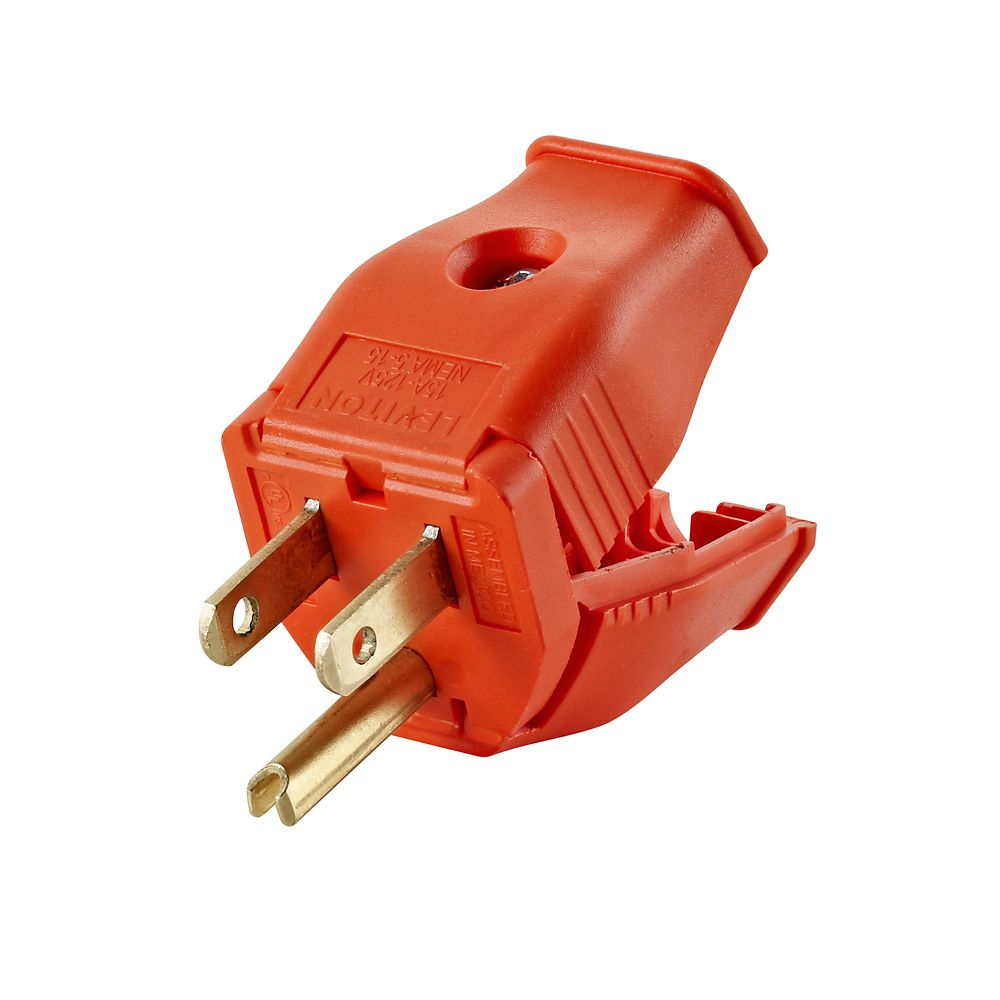 2-Pole, 3 Wire Grounding Plug. Clamptite Hinged Design 15a-125v, nema 5-15p, Orange Thermoplastic...