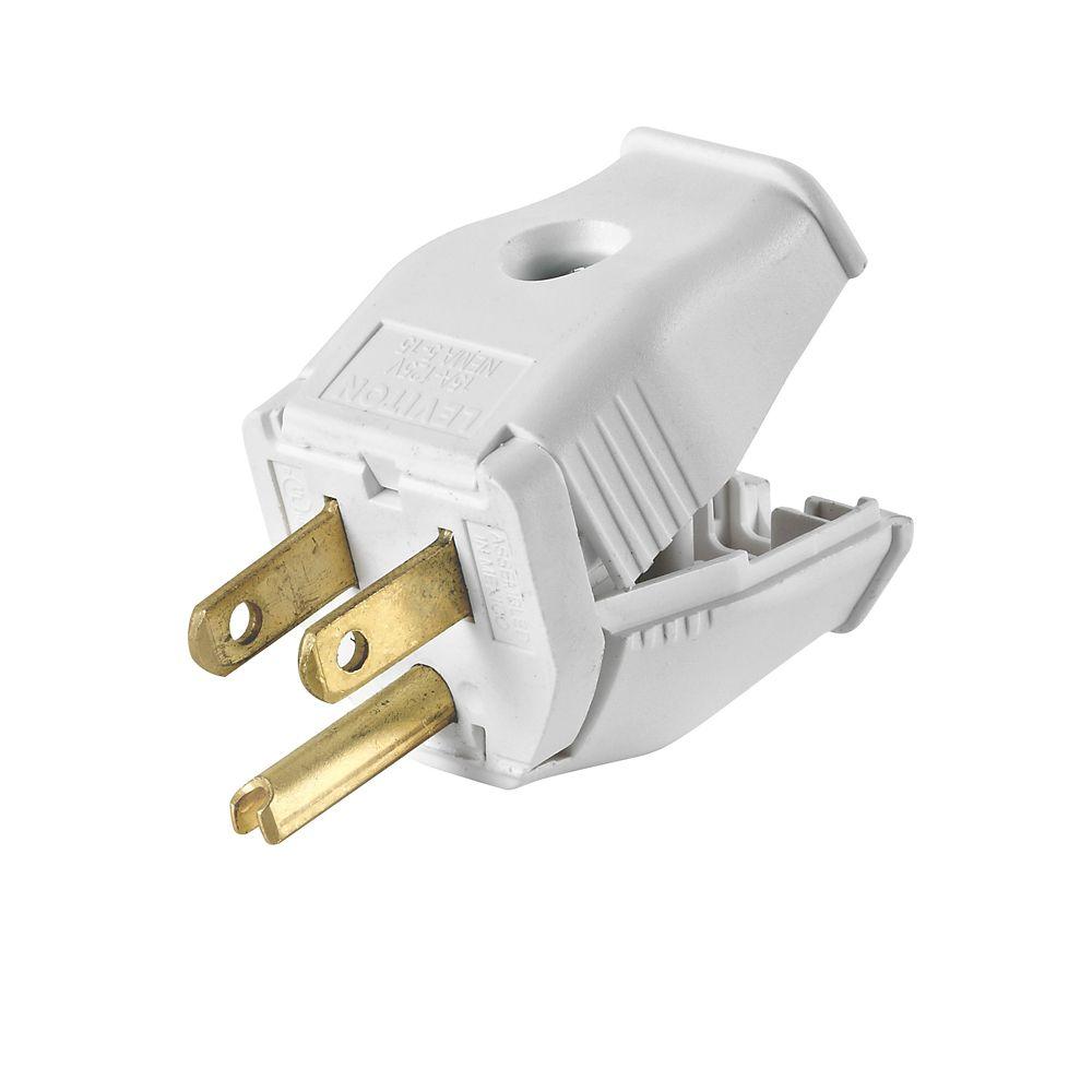 2-Pole, 3 Wire Grounding Plug. Clamptite Hinged Design 15a-125v, nema 5-15p, White Thermoplastic.