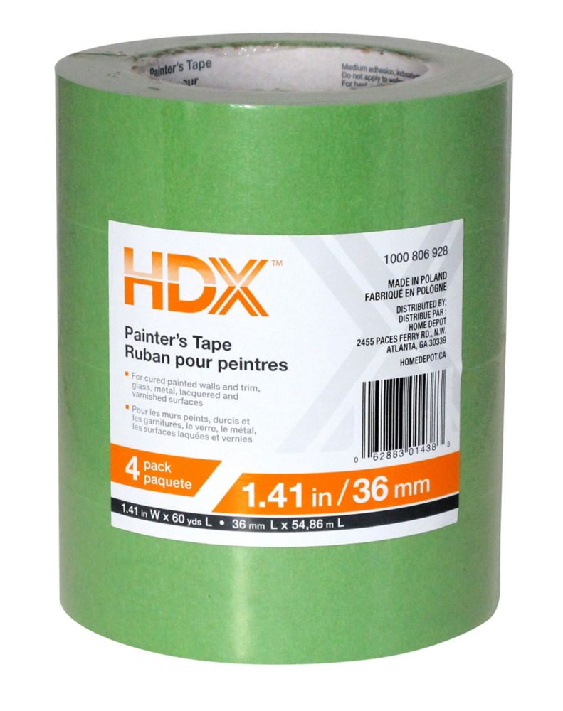 HDX Painter's Tape - 1-1/2 Inch (36mm) - 4 Pack