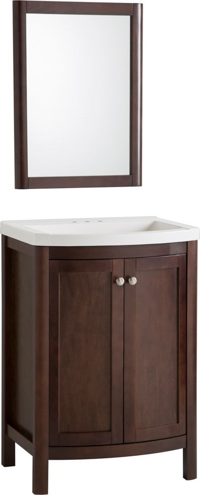 Meuble-lavabo Madeline 60,9cm (24po) en Cognac avec revêtement de comptoir et miroir