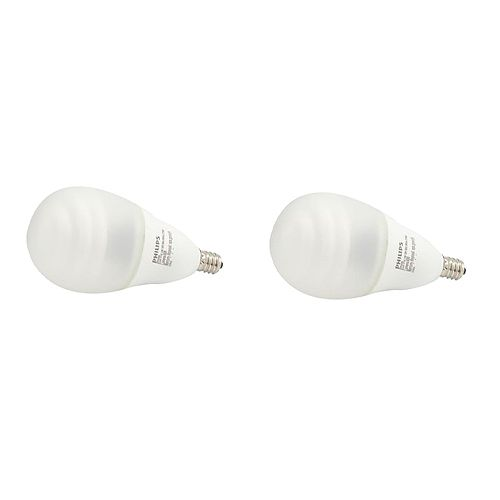 Philips 14W = 60W Silicone Fan Soft White Small Base (2700K) A19 CFL Light Bulb (2-Pack)