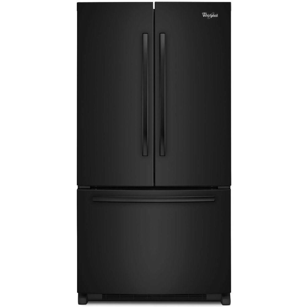 20 Cu Ft French Door Refrigerator: Whirlpool 20 Cu. Ft. Counter-Depth French Door Refrigerator In Black