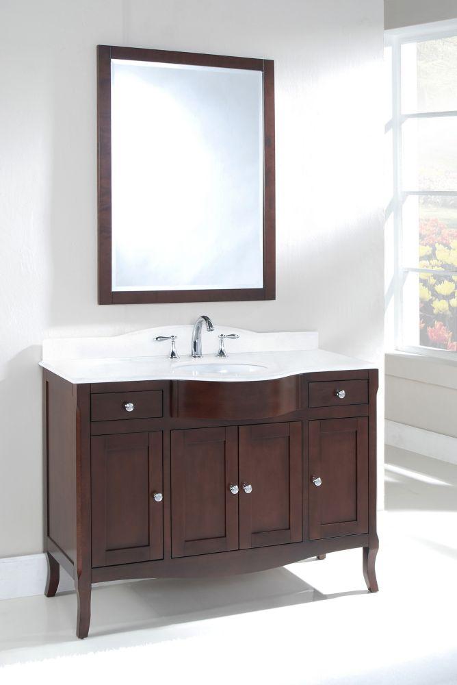 Bella 48-inch W Vanity in Walnut Finish