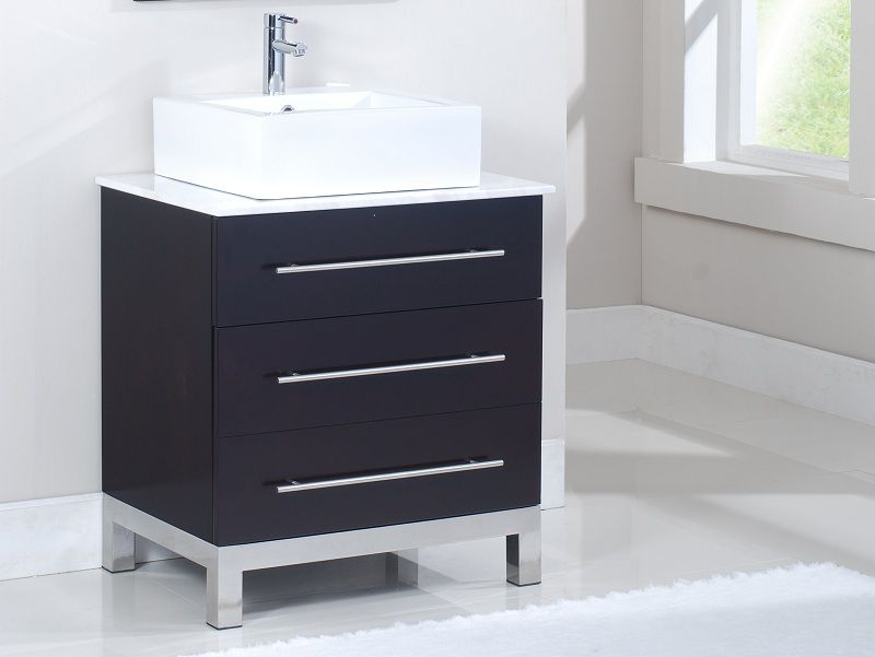 Meuble-lavabo TITAN de 28 po en finition marron espresso