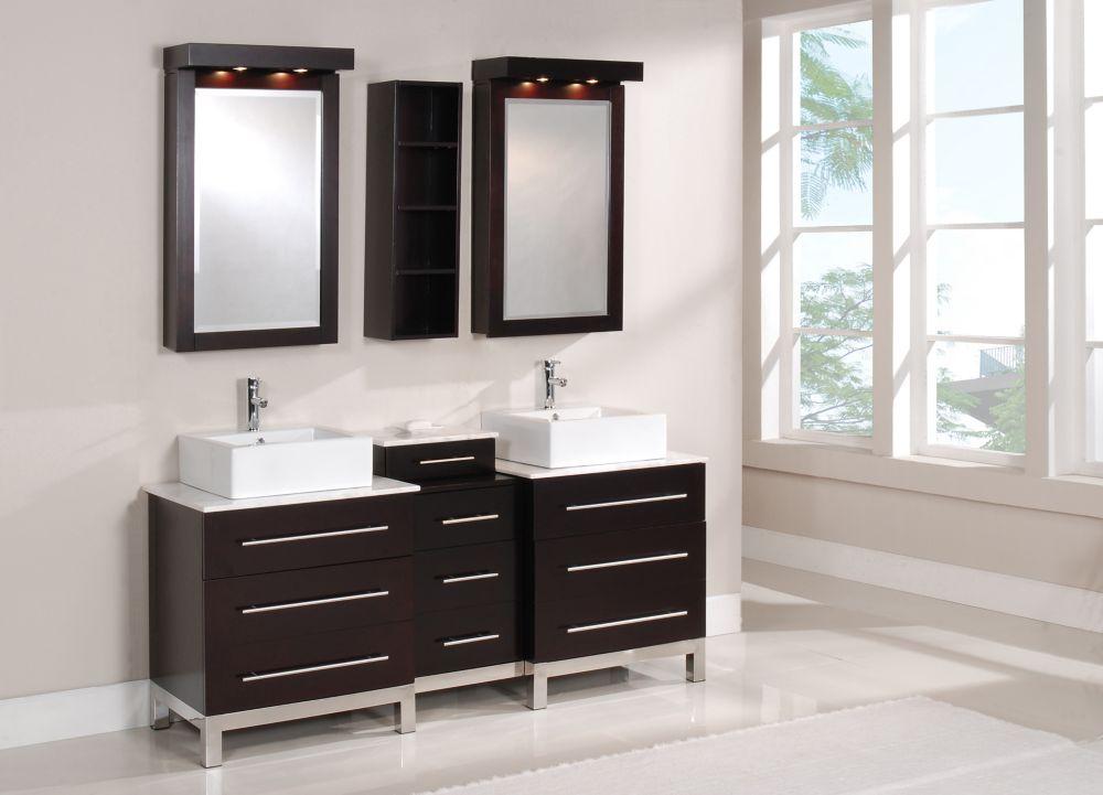 Titan 72-inch W Double Vanity in Espresso Brown Finish with Nova Quartz Top
