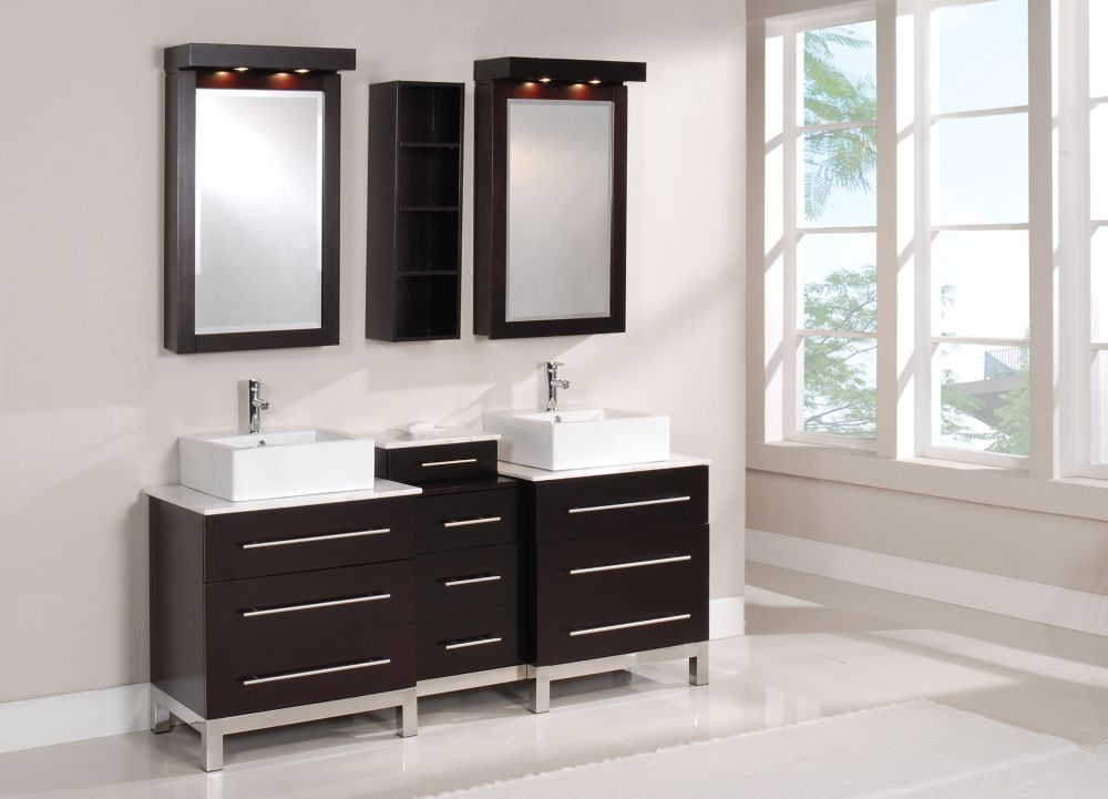 Meuble-lavabo TITAN de 72 po en finition marron espresso