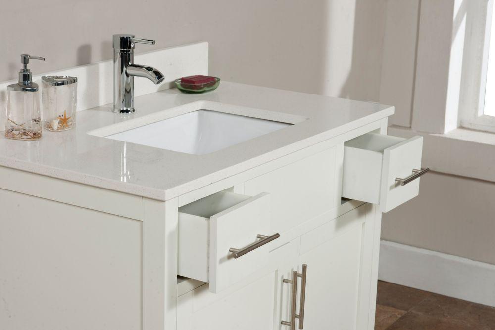 Linden 37-inch W Vanity in Dove White Finish