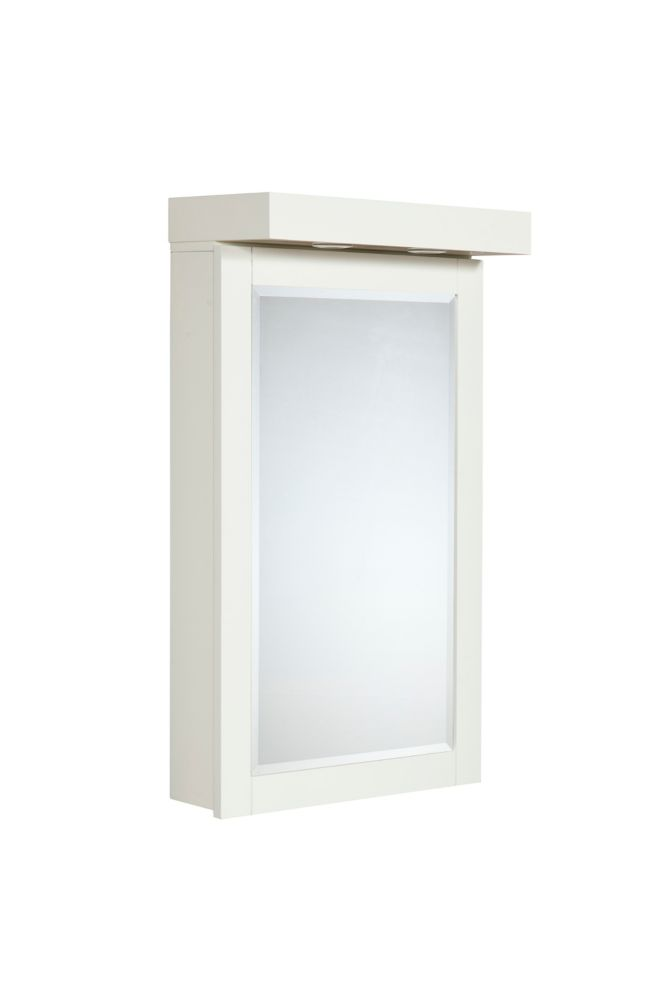 The Linden 22 Inches Medicine Cabinet With Halogen Lights in Dove White