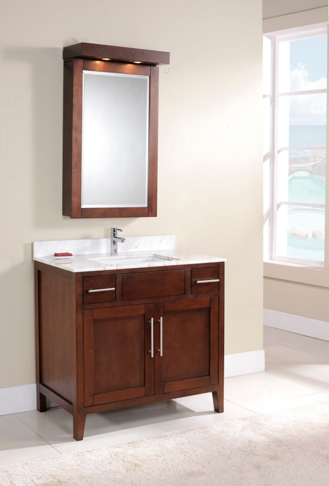 Linden 37-inch W Vanity in Walnut Finish