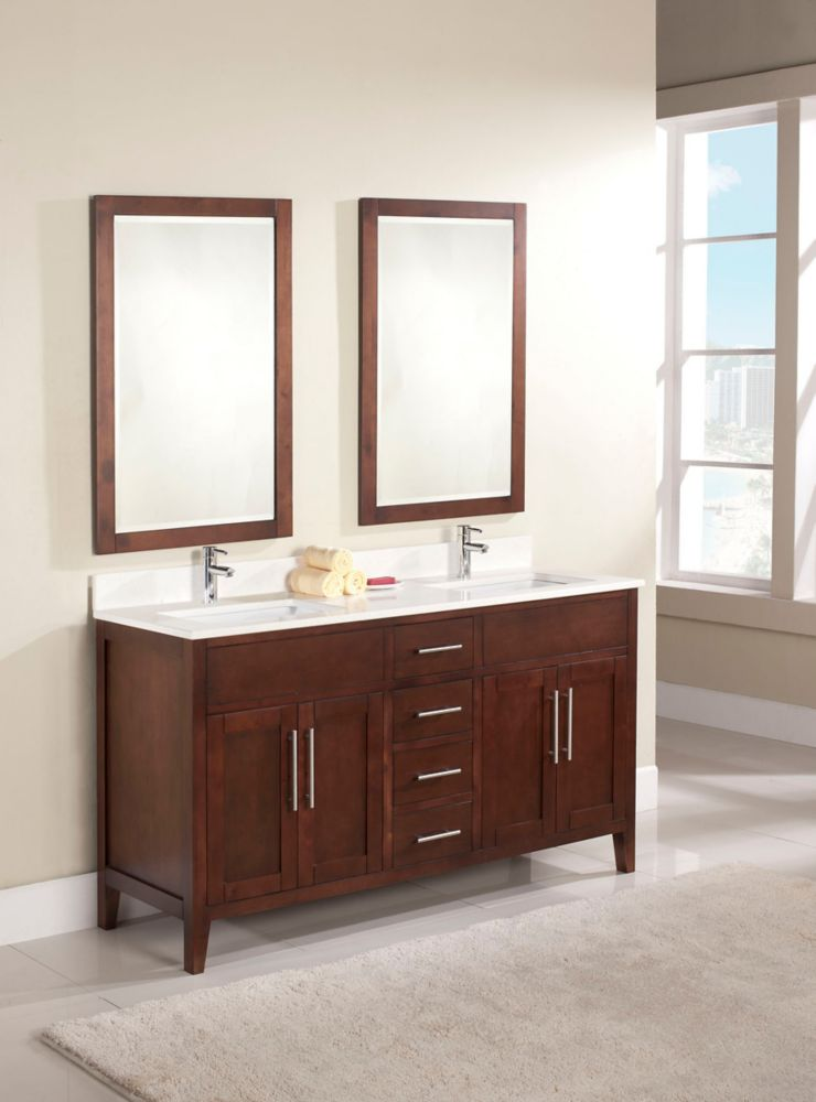 Linden 61-inch W Vanity in Walnut Finish